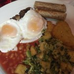 Veggie cooked breakfast including Quorn Sausages and yummy bubble and squeak . Cooked to order a