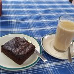 Nepali tea and a brownie at Mike's Breakfast in Baluwatar