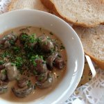 Bottom mushrooms in garlic and cream.