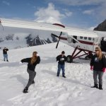 Snowball fight at the base camp near our plane