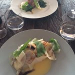 Our main courses: pork belly and fish.