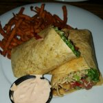 Thai-ginger wrap with yam fries and Sambal mayo dip