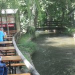 The Mill Stream running by the Biergarten tables.