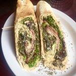 Sooo good!!! Roasted Garlic Hummus, Turkey-Bacon Hummus wrap & Shawarma wrap.