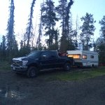 our campsite for the night - hacked out of the woods!