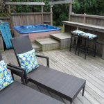 Backyard deck and hot tub