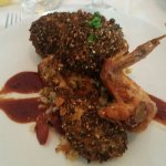 Delicious! Sesame crusted chicken and pastrami duck breast.