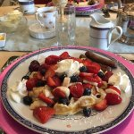 Delicious breakfast with fresh fruit