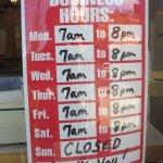 Restaurant hours