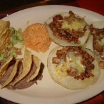 Tacos al pastor combo with rice and beans. Queso fondido con carne pastor