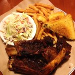 Barbecue beef ribs, cole slaw, fries and Texas garlic toast