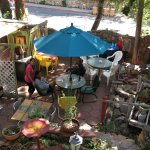 Bisbee weather makes eating outside a lot of fun . Enjoy the food and the veiw of Castle Rock