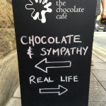 Sign outside Chocolate Cafe...