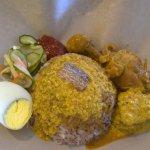 Nasi dagang with fish and chicken