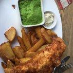 Fish and chips with mushy peas.at Veritas, Leeds.