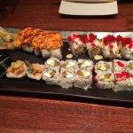 Alaska roll, bagel roll, veggie tempura roll, kamikaze roll