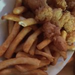 Sand box for kids while waiting, hush puppies, shrimp & grits, catfish special, fried shrimp mea