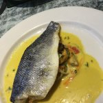 Sea Bass with Mussels and a saffron cream sauce