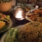 Thai fried rice, Talay kai, stir fried mixed vegetables and green curry