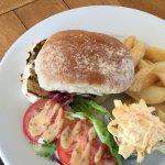 8oz steak beef burger - wonderful onion rings !
