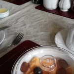 Fruit salad. Plastic, stained table cloth