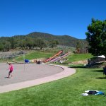 Here is the slide down to the beach from playground at top near parking lot.