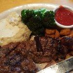 Steak and Shrimp, Potatoes, and Brocolli