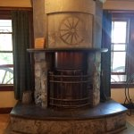 gorgeous soapstone fireplace in main lobby