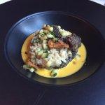 Golden chanterelle mushroom and zucchini blossom risotto
