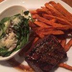 Flat iron steak, spinach, sweet potato fries