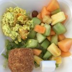 Chicken curry salad with fruit and Salmon salad.