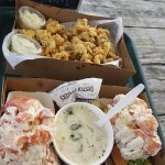 2 lobster rolls, clam chowder, and fried clams