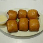 Fried mini buns with sweeten condensed milk