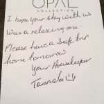 Nice note left by our housekeeper
