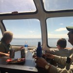 Looking at Lake Superior from the dome car!