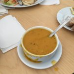 Carrot and coriander soup, filled to the brim