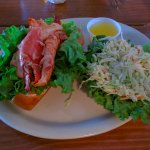 regular sized lobster roll and cole slaw