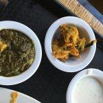 Vegetable pakora and saag paneer