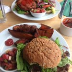 Vegan burger with sweet potato wedges!