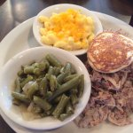 Pulled pork, mac and cheese and green beans (with a hoe cake)