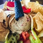 Tuna dip and very fresh chips and toppings