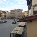 view into Piazza della Signoria from the breakfast room