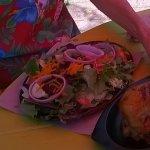 BBQ chicken and salad