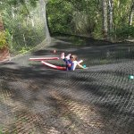 fin du parcourt trampoline air de jeux
