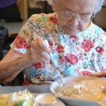 Biscuits with vegetarian gravy...the choice for her 99th birthday lunch!