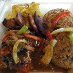 Smoked ginger teriyaki salmon rice n peas fry plantains & mac n cheese! #Flavastyle