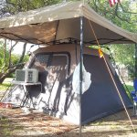 Glamping at a garden tent site