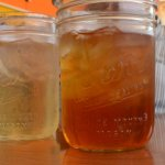 Lemonade and sweet tea, served in Kerr jars.