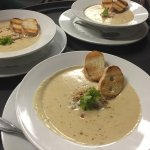 Cream of crab soup, homemade crab cake sandwich
