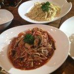 pasta--carbonara and seafood